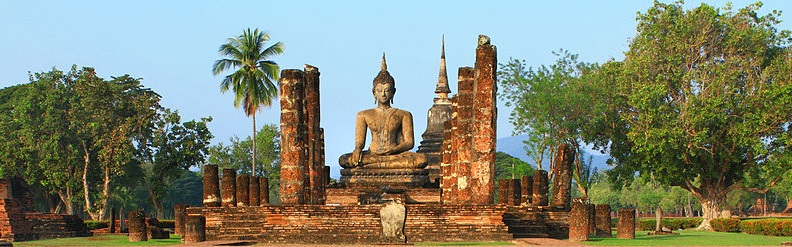 photo of temple at Sukhothai, with Buddha